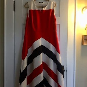 Vintage red white and black striped dress